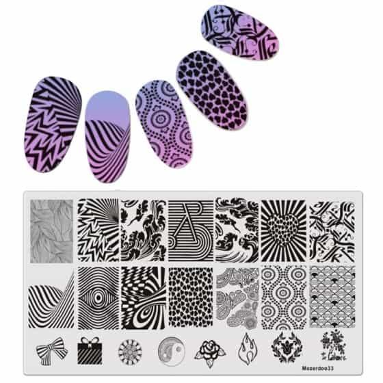 Placas de estampación de uñas con diseños tribales