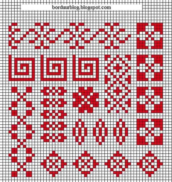 imagenes de grecas aztecas en punto de cruz