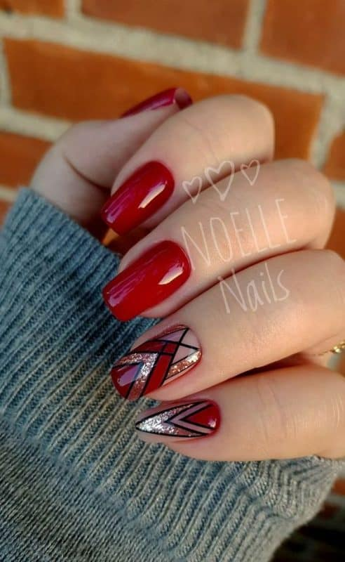 Formas geométricas con purpurina. Colores rojo y negro